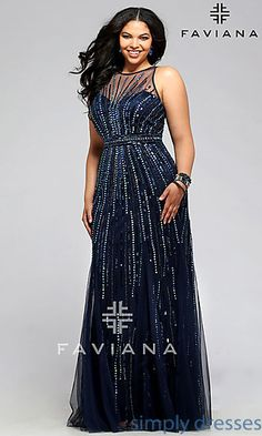 Plus Size Floor Length Beaded Prom Dress by Faviana