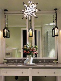 The 10 Best DIY Bathroom Projects : Home Improvement : DIY Network. Love the lights hanging from the ceiling!