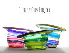 These Chihuly-inspired cups could be used to make great party decorations, a mobile, maybe even quirky candy dishes at a kid's party! Chihuly-Inspired Cups Project, made with Solo plastic cups, Sharpies and your oven! Easy Crafts For Kids, Projects For Kids, Art For Kids, Art Projects, Creative Crafts, School Projects, Creative Ideas, Dale Chihuly, Kindergarten Art