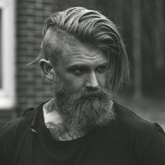 Undercut with Long Comb Over and Thick Beard