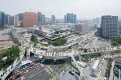 The repurposed piece of infrastructure cuts through the inner city, serving as a catalyst for a greener and more walkable quarter of the South Korean capital.