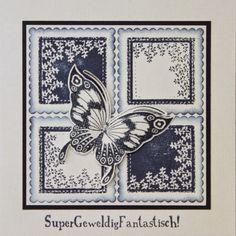 Marjoleine's blog: Blauwe stempelkaarten met vlinders en takjes