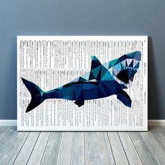 Colorful decor Shark poster Geometric art by animalgeometry
