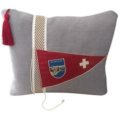 """Hit the Road!""  Vintage Travel Pennant Pillow (4,095 PHP) ❤ liked on Polyvore featuring home, home decor, throw pillows, pillows, embellished throw pillows, vintage home decor, vintage throw pillows, red home decor and linen throw pillows"
