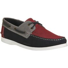 Ask the Missus Dolphin Boat Shoe ($87) ❤ liked on Polyvore featuring men's fashion, men's shoes, men's loafers, casual, grey red navy nubuck, men, shoes, mens red boat shoes, mens red shoes and mens moccasins