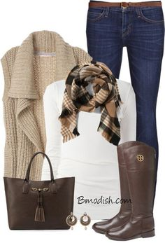 Another super outfit for riding boots are snug fitting khakis with your brown riding boots, a beautiful cable knit white sweater and a blush scarf, and a lovely blush colored tote. Trendy Fall Outfits, Fall Winter Outfits, Autumn Winter Fashion, Casual Outfits, Winter Clothes, Casual Winter, Girly Outfits, Grunge Outfits, Winter Dresses
