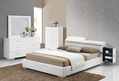 ACME Manjot Queen Bed w/Build In 2NS White PU - 20420Q