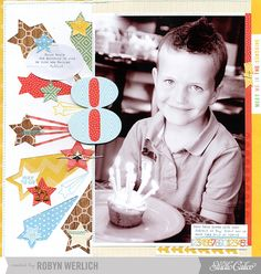 #papercraft #Scrapbook #layout    Eight...birthday layout