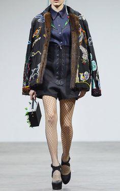 Embroidered Silk Fur Bomber by ALEXANDER ARUTYUNOV for Preorder on Moda Operandi