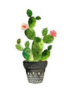 , bilder Best Picture For Cactus y suculentas For Your Taste You are looking for something, and it is going to tell you exactly what you are looking for, and you didn't find that picture. Cactus Drawing, Cactus Painting, Watercolor Cactus, Cactus Art, Cactus Flower, Flower Pots, Watercolor Paintings, Flowers, Cactus Decor