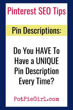 Pinterest Tips for Bloggers! Let's talk Pin Descriptions - what's the right way to do pin descriptions on Pinterest? Do pin descriptions HAVE to be new and UNIQUE every time you pin or repin? Make Money Blogging, Blogging Ideas, Pinterest For Business, Blogger Tips, Instagram Tips, Blogging For Beginners, Pinterest Marketing, Social Media Tips, How To Start A Blog