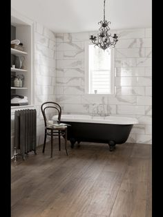 Centello wall tile with wood effect floor tile