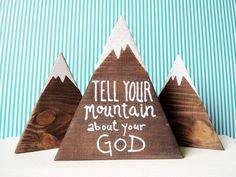 Bible Verse Signs, Scripture Art, Mountain Decor, Mountain Art, Mountain Crafts For Kids, Christian Retreat, Bibel Journal, Bible School Crafts, Vbs Crafts