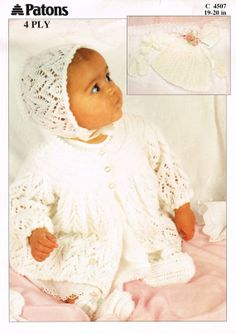 Patons 4507 baby matinee coat and bonnet set vintage by Ellisadine, £1.00