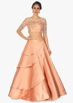 White satin blouse with layered frill sleeves paired with peach net skirt in moti and sequins embroidery only on Kalki Lehenga Skirt, Lehnga Dress, Lehenga Blouse, Lehenga Choli, Indian Skirt, Indian Gowns Dresses, Stylish Sarees, Lehenga Designs, Indian Designer Wear