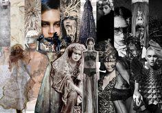 Layout idea - images in stripes. Sketchbook Inspiration, Moodboard Inspiration, Sketchbook Ideas, Layout Inspiration, Inspiration Boards, Board Ideas, Punk Fashion, Fashion Art, Fashion Boards