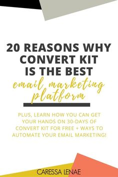 Ready to take your email marketing to the next level? From beginner bloggers to advanced entrepreneurs, Convert Kit is your email marketing solution and I am sharing 20 reasons why you will be obsessed with Convert Kit and how you can grab 30-days free! via /CaressaLenae/