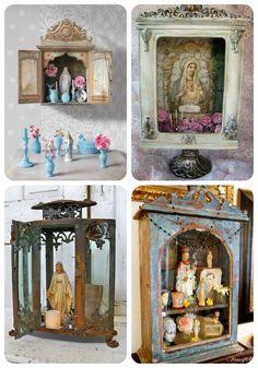 I appreciate an altar of any kind. Not Catholic, but I do enjoy knowing the saints. Here, a glass lantern, curio cabinet, shadow box Catholic Altar, Catholic Crafts, Prayer Corner, Prayer Room, Lanterns Decor, Altar Decorations, Blessed Mother, Kirchen, Religious Art