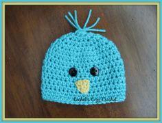 Baby Crochet Bird Hat  Turquoise Birdie by RachelsCozyCrochet, $12.00