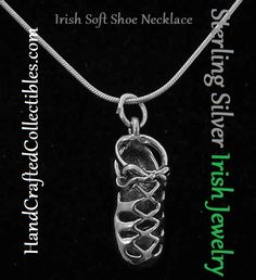 Sterling Silver Irish Dancing Shoe Necklace. Celebrate Irish culture with an Irish soft shoe charm necklace.  Find this and countless other Irish and Celtic jewelry at HandCraftedCollectibles.com