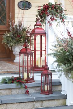 Lantern Set of 3, Melrose International Red Lanterns Collection : LadybugJunction.com