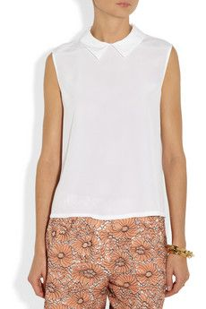 Equipment Elliot white washed silk top