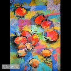 jabłka - rysunek pastelami suchymi - Na ścianę - Rysunek i grafika - Grupart.pl