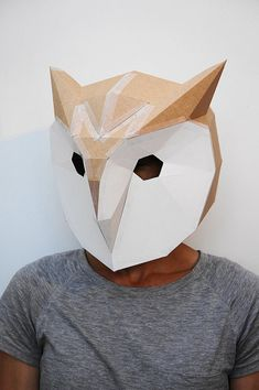 Make your own 3D Owl mask from card great for by Wintercroft