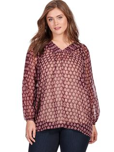 Floral Tie Front Blouse by Lucky Brand Available in sizes 1X-3X