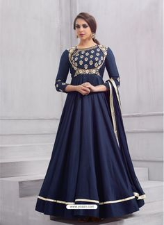 Tapeta silk anarkali dress heavy embroidery work in navy blue color. Navy blue anarkali salwar suit is tapeta silk fabric top and dual santoon fabric bottom with nazneen fabric dupatta. Navy blue anarkali salwar kameez online shopping at best prices. Silk Anarkali Suits, Anarkali Dress, Long Anarkali, Salwar Suits, Hijab Dress, Punjabi Suits, Salwar Kameez Online, Indian Salwar Kameez, Churidar