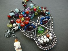 Day of the Dead sugar skull gemstone necklace  - wire wrapped sterling silver Calavera pendant with mixed gemstones