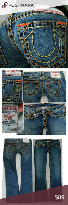 TRUE RELIGION BOBBY SUPER T FLARE JEANS 6 28 X 32 Authentic True Religion Jeans Flare & Wide Leg