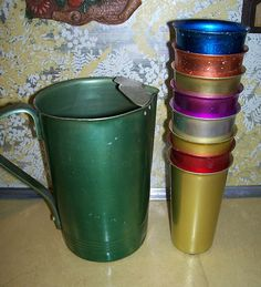 Retro Metal tumbler set. LOVE these but hated to drink out them - lol