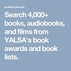 Search books, audiobooks, and films from YALSA's book awards and book lists. Book Finder, What To Read, Book Lists, Audiobooks, Awards, Films, Reading, Search, Movies