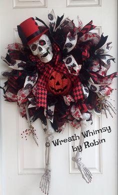 XL Skeleton Deco Mesh Wreath in Red & Black, Halloween Wreath, Skeleton Decor, Victorian Skeleton by WreathWhimsybyRobin on Etsy