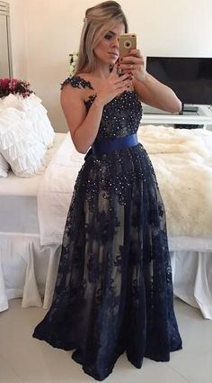 $179-Dark Navy Blue Beaded Long Prom Dresses Lace Floor Length A-line Evening Gowns