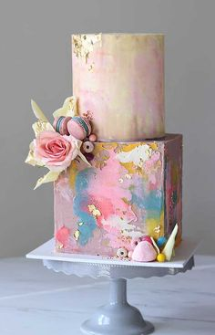 Be inspired by these pretty wedding cakes! We are having a major swoonnsesh over these gorgeous wedding cakes. These latest wedding cakes are the latest instragram wedding cake trend from fabulous artist cake designers. Pretty Wedding Cakes, Elegant Wedding Cakes, Elegant Cakes, Wedding Cake Designs, Pretty Cakes, Wedding Themes, Wedding Colors, Unique Cakes, Wedding Dresses