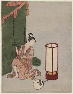 Young Woman Preparing to Sleep under a Mosquito Net  蚊帳に入る女 Japanese Edo period about 1766 (Meiwa 3) Artist Suzuki Harunobu (Japanese, 1725–1770)