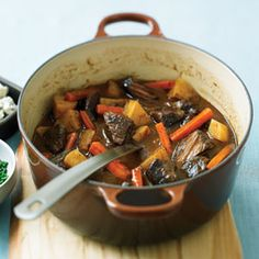 Comfort Food....smoky beef stew with blue cheese and chives.