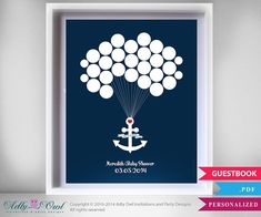 Nautical Guest book Alternative for Boy Baby Shower with Anchor, heart and balloons,wall decor - DIY on Etsy, $15.00