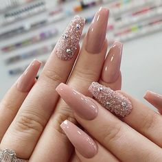 Light pink gel coffin nails design, Acrylic Coffin nails long, Glitter pink coffin nails design summer, Sparkle pink coffin nails with rhinestones, Coffin Nails Designs Summer, Cute Acrylic Nail Designs, Pink Acrylic Nails, Pink Nails, Glitter Nails, Gorgeous Nails, Pretty Nails, Coffin Nails Long, Pink Coffin