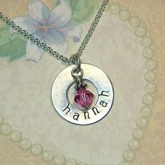 Single Name & Birthstone Hand Stamped Sterling Silver Washer Necklace by Dolphin Moon Creations
