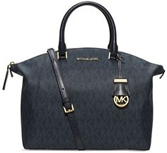 Women's Top-Handle Handbags - MICHAEL Michael Kors Riley Signature Large Satchel Baltic Blue *** For more information, visit image link.