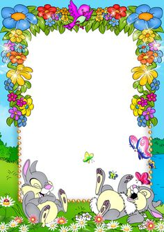 Cute Blue Kids PNG Photo Frame with Flowers and Bunnies