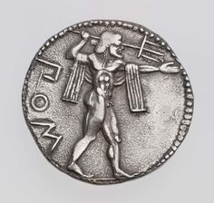 """theancientwayoflife: """"~Stater of Poseidonia with Poseidon hurling trident. Culture: Greek Period: Archaic Period Date: about 530–500 B.C. Mint: Poseidonia, Lukania """""""