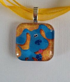 1 inch glass tile, silver plated, (Blues Clues) Pendant Necklace.