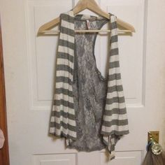 Gray striped w lace back cardigan Worn once BONGO Sweaters Cardigans