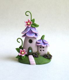 "Miniature  Whimsical  Fairy Blossom House OOAK by ArtisticSpirit, $55.00 This miniature whimsical, fairy blossom house is a one of a kind original design and creation by artist C. Rohal. It is completely hand made from mixed media, hand sculpted from polymer clay and hand painted and it is wonderful. It measures approximately 1 3/4"" in height and it is adorable. It is filled with tiny details. It has been sealed with polycrylic sealer and comes initialed and dated by the artist."