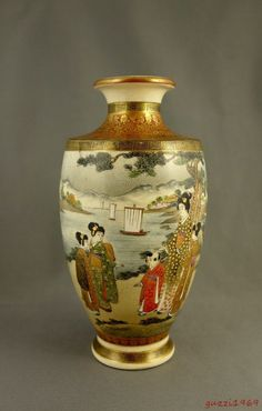 Antique Japanese Signed Kinkozan Fine Satsuma Vase, Women, Children at the Seaside