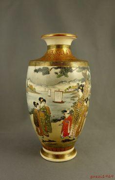 Antique Japanese Signed Kinkozan Fine Satsuma Vase, Women, Children @ Seaside | eBay